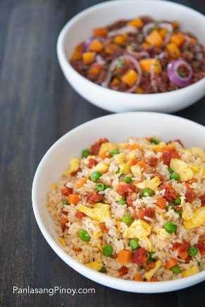 Longanisa arroz frito y carne en conserva de ginisang con receta kalabasa