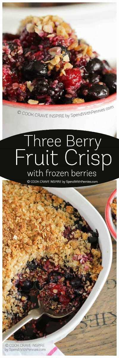 ¡Mixed Berry Crisp es deliciosamente rápido y fácil! Con una dosis extra de cobertura desmoronada y un toque de ralladura de limón, ¡esta es una de mis recetas de postres más solicitadas! Lo servimos tibio al horno con helado de vainilla.