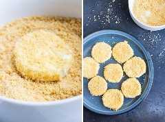 Un primer plano de queso de cabra recubierto con una mezcla de pan rallado Panko para una receta de queso de cabra frito.