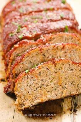 Pastel de carne de pavo en rodajas de mi receta favorita de pastel de carne de pavo