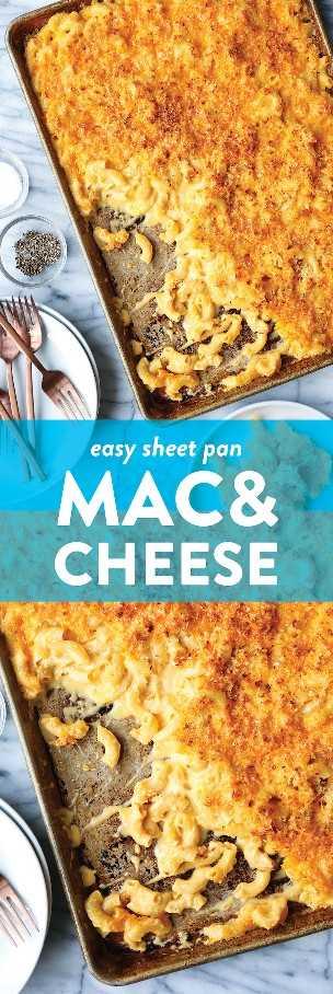 Sheet Pan Mac and Cheese - ¡Mac y queso agradables para la multitud hechos en una sartén! Perfectamente cursi + cremoso con la máxima cantidad de trocitos crujientes. MENTE SOPLADO.