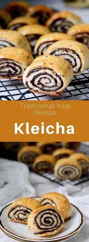 Kleicha es una deliciosa pastelería pequeña que se considera la pastelería nacional iraquí hecha de una masa rellena con una pasta de dátiles con sabor a cardamomo. #Iraq #IraqiCuisine #IraqiRecipe #IraqiPastry #MiddleEastern #WorldCuisine # 196flavors