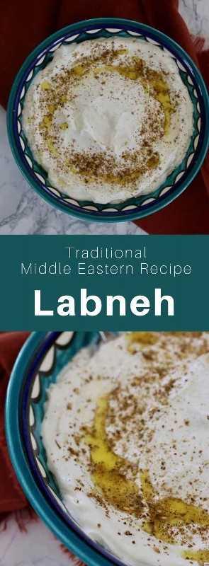 Labneh es una especialidad del Medio Oriente, un tipo de queso preparado con yogurt hecho de leche rica, que se ha escurrido para eliminar la mayor parte de su suero. #MiddleEast #MiddleEasternRecipe #MiddleEastCuisine #WorldCuisine # 196flavors