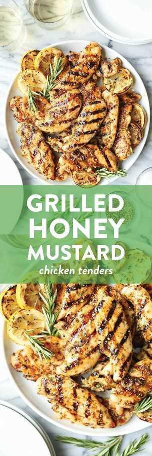 Licitaciones de pollo a la parrilla con mostaza y miel: el pollo más jugoso y tierno con la marinada más fácil. Dijon, miel, aceite de oliva, romero, limón. El mejor de todos.