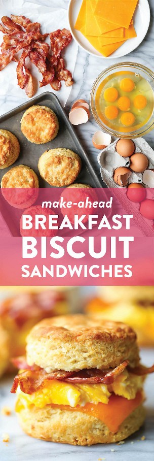 Prepare sándwiches de galletas para el desayuno por delante: galletas de suero de leche hojaldradas tan calientes con huevos, tocino y queso. ¡Almacene en el refrigerador y recaliente por la mañana!