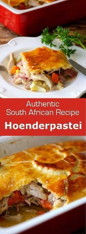 Hoenderpastei es una tarta de pollo con salsa de pollo sudafricana cubierta con una costra y con capas de verduras, huevo duro y lonchas de jamón. # Sudáfrica Sudáfrica # 196 sabores