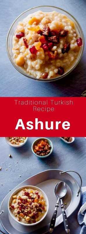 El pudín de Ashure o Noah es un postre de origen turco compuesto de cereales y frutas secas. Es una tradición servida en el día de Achoura, el décimo día de Muharram. # Turquía #Turkish #TurkishRecipe #TurkishCuisine #WorldCuisine # 196flavors