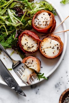 Air Fryer's bacon-wrapped scallops are so easy, made with just two ingredients! Stylish enough to impress guests, yet easy enough to make any weekday night for your family.