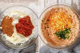 Dos tomas de proceso que muestran la salsa de queso crema en un tazón.