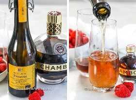 Imagen de la izquierda: ingredientes de Kir Royale. Imagen derecha: ingredientes que se vierten en copas de champán refrigeradas.