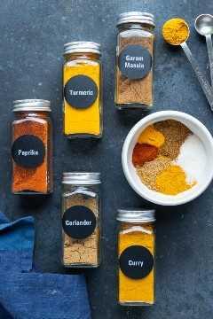 Garam masala, curry en polvo, pimentón, cilantro y cúrcuma como ingredientes en una receta casera de condimento para curry.