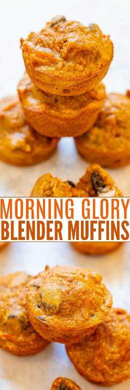 Magdalenas Morning Glory Mini Blender: ¡son sin gluten, bajas en azúcar, así que FÁCIL porque están hechas en la licuadora y tienen un sabor INCREÍBLE! ¡Nunca adivinarías que son SALUDABLES porque son muy húmedos y sabrosos! ¡Perfecto para el desayuno, meriendas o como postre saludable!