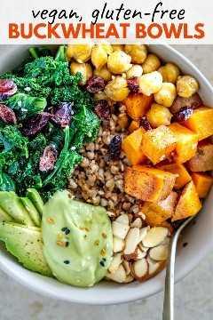 alforfón vegano con verduras asadas gráfico de pinterest
