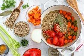 Sopa de lentejas ingredientes en una tabla de cortar y en una olla lista para cocinar
