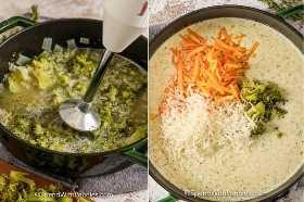Sopa de brócoli en una olla mezclada suave y agregando queso a la sopa