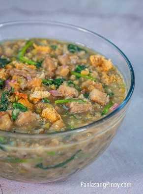 munggo de cerdo con receta de kangkong