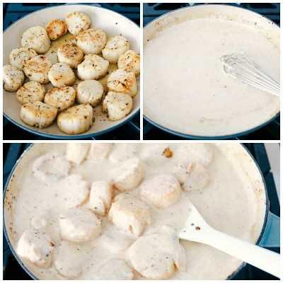 Las vieiras cremosas de limón y parmesano procesan las fotos de las vieiras, haciendo la salsa y agregando las vieiras a la salsa mientras se cocina.
