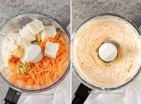 Sumerja los ingredientes en un procesador de alimentos antes y después de mezclarlos.