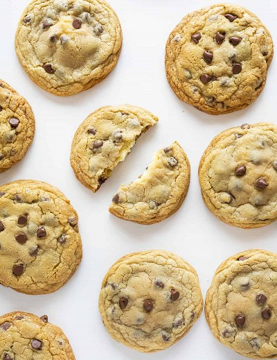 Receta de galletas de chispas de chocolate rellenas de tarta de queso
