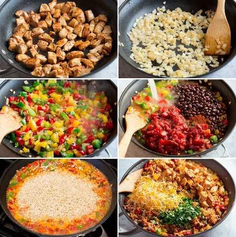 Imagen que muestra seis pasos para preparar un tazón de arroz de una sartén.