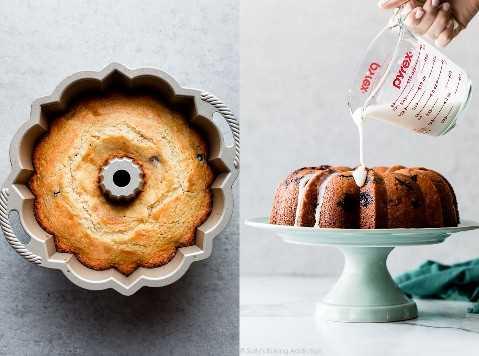 pastel de baya de limón antes y después de la formación de hielo