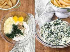 Imagen de la izquierda: conchas rellenas de crockpot rellenando los ingredientes en un recipiente de vidrio. Imagen derecha: ingredientes de relleno combinados en un recipiente de vidrio.