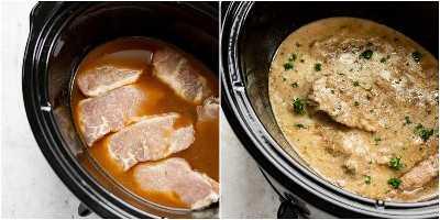 Collage de chuletas de cerdo Crock-Pot (antes y después de cocinar)