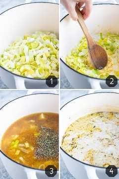 Cuatro imágenes que muestran cómo hacer que la sopa de puerros y papas sea vegana y vegetariana en un horno holandés.