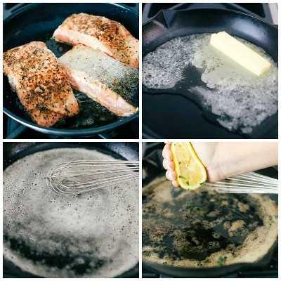 El proceso de cocinar el salmón marrón con mantequilla y limón en una sartén