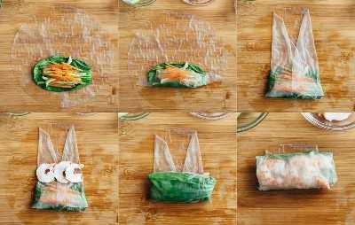 El proceso de envolver los rollitos de primavera de camarones.