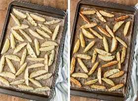 Dos imágenes que muestran gajos de papa en una bandeja para hornear antes y después de asarlos.