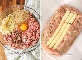 Imagen de la izquierda: ingredientes de pastel de carne de pollo en un recipiente de vidrio. Imagen derecha: pastel de carne de pollo preparado con un núcleo de queso parmesano.