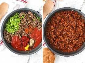 Ingredientes Sloppy Joe en una sartén antes y después de ser mezclados.