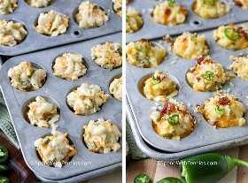 Duas imagens mostrando as mordidas de macarrão com queijo feitas em uma mini forma de muffin antes e depois do cozimento.