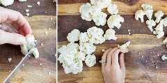 Cortar el extremo del florete de coliflor antes de asarlo, hervirlo o saltearlo.