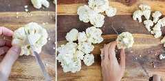 Cortar grandes flores de coliflor en pequeñas flores.