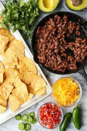 Carne Asada Nachos - ¡LOS MEJORES NACHOS NUNCA! Cargado con la carne asada más fácil y tierna, queso cheddar, pico de gallo, aguacate, jalapeño + llovizna de queso.