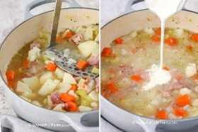 Dos imágenes que muestran los ingredientes de la sopa de jamón y papa en la olla común antes y después de agregar la crema.