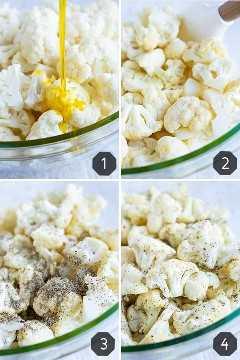Fotos paso a paso que muestran cómo asar la coliflor en el horno.