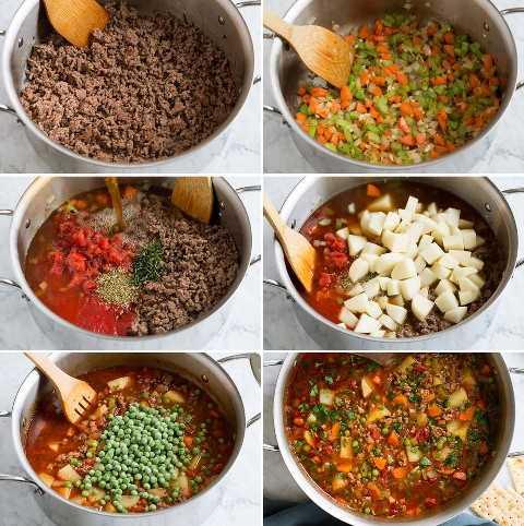Passos que mostram como fazer sopa de hambúrguer.