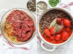 Imagen de la izquierda: verduras cocidas y carne dorada en una olla. Imagen correcta: todos los ingredientes en la olla para hervir a fuego lento.
