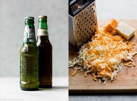 ingredientes en salsa de queso y cerveza