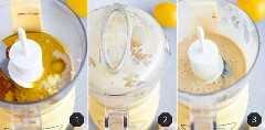 Agregar los ingredientes a una licuadora o procesador de alimentos es cómo hacer aderezo de tahini de limón.