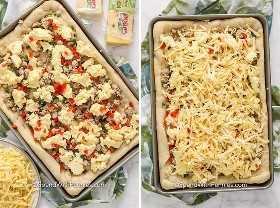Café da manhã preparado pizza antes e depois de ser coberto com queijo.