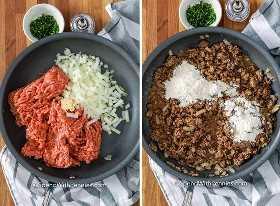 Imagen de la izquierda: carne molida, cebolla y ajo cocinados en una sartén. Imagen derecha: se agrega harina a la mezcla de hamburguesas doradas.