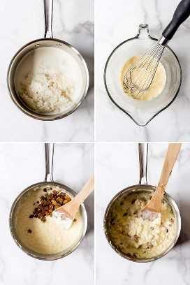 Un collage de imágenes que muestran cómo hacer arroz con leche.