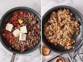Ingredientes rellenos de champiñones en una sartén antes y después de combinarlos.