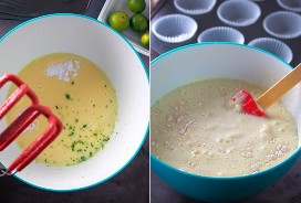hacer masa de muffins de migas de calamansi en un tazón azul