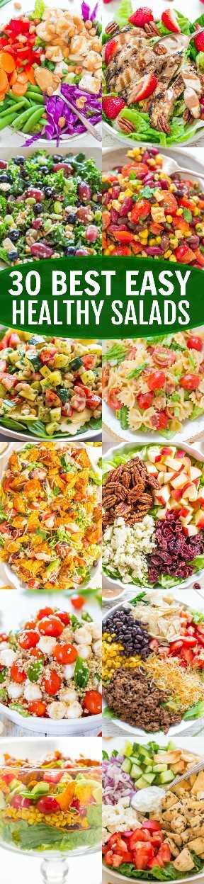 Las 30 mejores ensaladas saludables y fáciles: ¿busca recetas de ensaladas fáciles de llenar y sabrosas? ¡Las 30 ensaladas saludables en esta lista son las MEJORES ensaladas que jamás comerás!