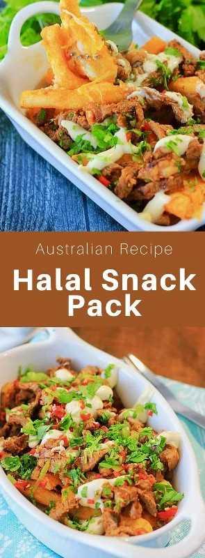 El paquete de bocadillos halal es un plato creado en Australia con orígenes en Oriente Medio, compuesto de carne halal (cordero, pollo o ternera), papas fritas, queso y varias salsas. # Australia #Cocina Mundial # 196 sabores